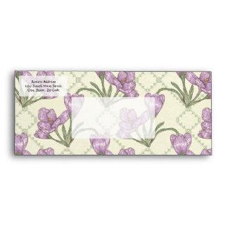 Pretty Purple Iris Flower Pattern Envelope