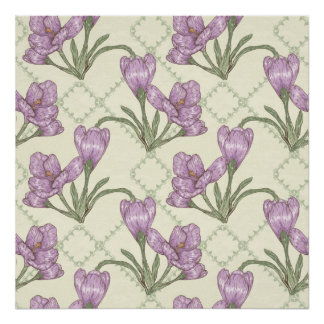 Pretty Purple Iris Flower Pattern Poster