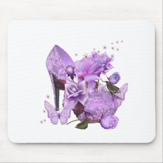 Pretty Purple Lavender Hi Heel Rose Floral Mouse Pad