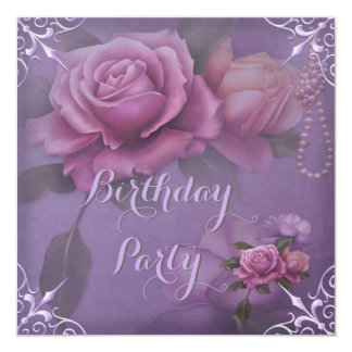 Pretty Purple Lilac Pink Rose Birthday Party Card