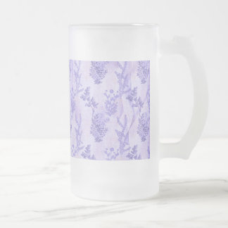 Pretty Purple Lilacs Frosted Glass Beer Mug