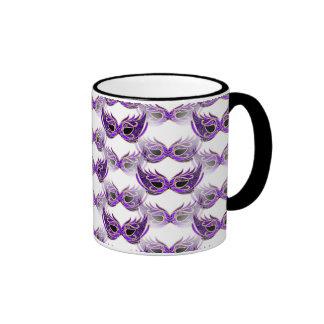 Pretty Purple Masquerade Ball Masks Mardi Gras Ringer Coffee Mug