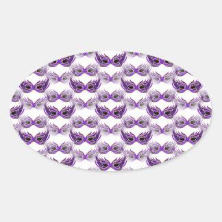 Pretty Purple Masquerade Ball Masks Mardi Gras Oval Sticker