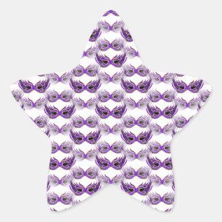 Pretty Purple Masquerade Ball Masks Mardi Gras Star Sticker