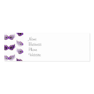 Pretty Purple Masquerade Masks Mardi Gras Double-Sided Mini Business Cards (Pack Of 20)