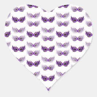 Pretty Purple Masquerade Masks Mardi Gras Heart Sticker