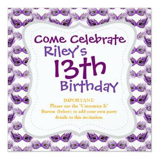 Pretty Purple Masquerade Masks Mardi Gras 5.25x5.25 Square Paper Invitation Card