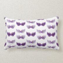Pretty Purple Masquerade Masks Mardi Gras Pillows