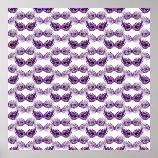 Pretty Purple Masquerade Masks Mardi Gras Poster
