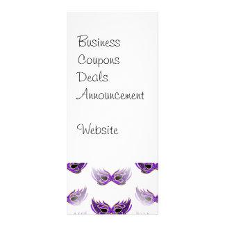 Pretty Purple Masquerade Masks Mardi Gras Rack Card