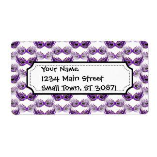Pretty Purple Masquerade Masks Mardi Gras Shipping Label