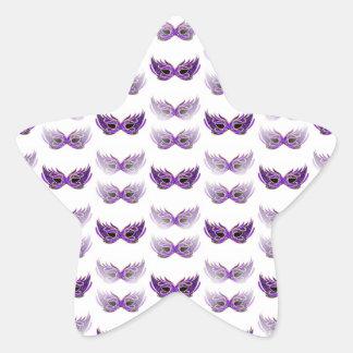 Pretty Purple Masquerade Masks Mardi Gras Star Sticker