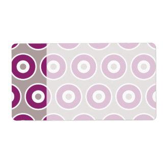 Pretty Purple Mauve Concentric Circles Pattern Label