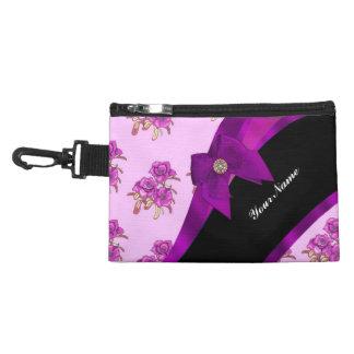 Pretty purple mauve vintage floral pattern accessory bags