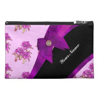 Pretty purple mauve vintage floral pattern travel accessories bag
