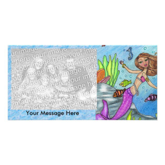 Pretty Purple Mermaid Swimming Fish Seaweed Rocks Card