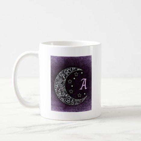 Pretty purple moon monogram coffee mug