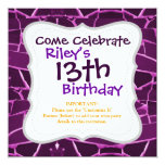 Pretty Purple Mosaic Tiles Girly Pattern 5.25x5.25 Square Paper Invitation Card