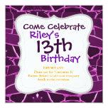 Pretty Purple Mosaic Tiles Girly Pattern 5.25x5.25 Square Paper Invitation Card