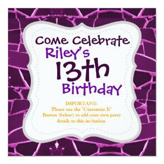 "Pretty Purple Mosaic Tiles Girly Pattern 5.25"" Square Invitation Card"