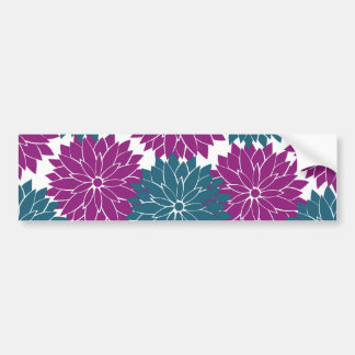 Pretty Purple Navy Blue Flower Blossoms Print Bumper Sticker