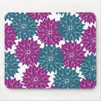 Pretty Purple Navy Blue Flower Blossoms Print Mouse Pad