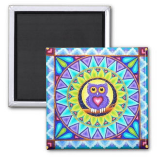 Pretty purple owl mandala magnet by Soozie Wray.