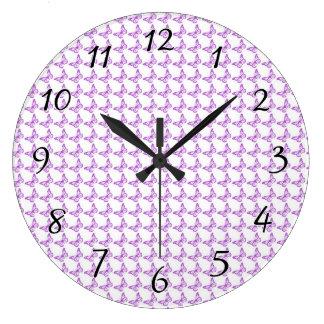 Pretty Purple Pain Awareness Butterflies Large Clock