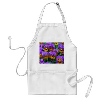Pretty Purple Pansies in a Field Adult Apron