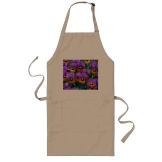 Pretty Purple Pansies in a Field Long Apron