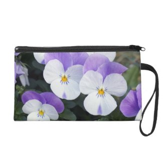 Pretty Purple Pansies Wristlet