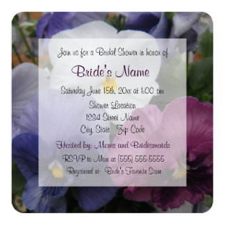 Pretty Purple Pansy Bridal Shower Invitation