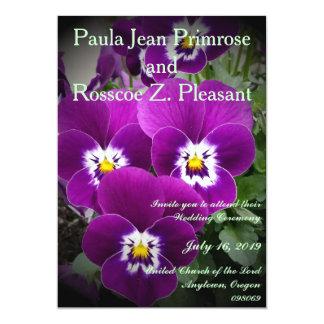 Pretty Purple Pansy Nuptials 5x7 Paper Invitation Card