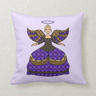 Pretty Purple Patchwork Angel Throw Pillow