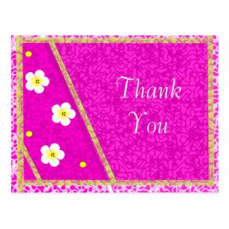 Pretty Purple Pattern and Dainty Flowers Birthday Postcard
