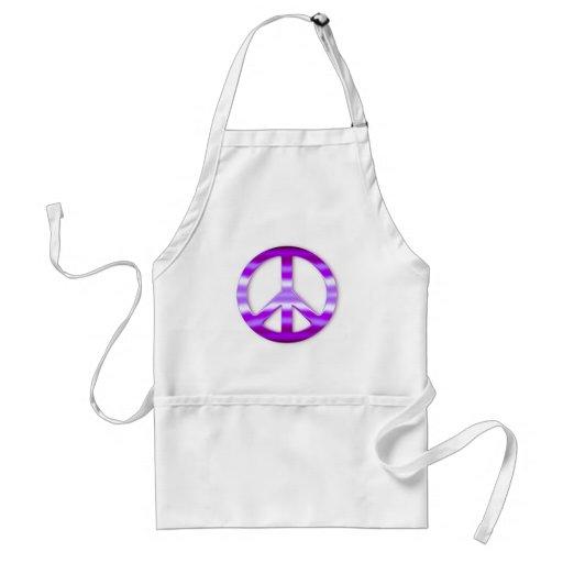 Pretty Purple Peace Sign Adult Apron