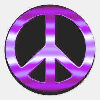 Pretty Purple Peace Sign Classic Round Sticker