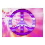 Pretty Purple Peace Sign Greeting Cards