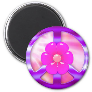 Pretty Purple Peace Sign Magnet