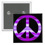 Pretty Purple Peace Sign Pinback Button