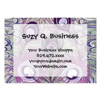 Pretty Purple Peacock Feathers Elegant Design Large Business Cards (Pack Of 100)