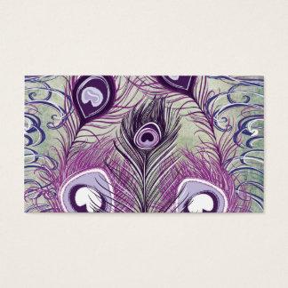 Pretty Purple Peacock Feathers Elegant Design Business Card