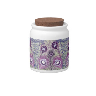 Pretty Purple Peacock Feathers Elegant Design Candy Jars