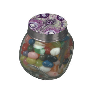 Pretty Purple Peacock Feathers Elegant Design Jelly Belly Candy Jar