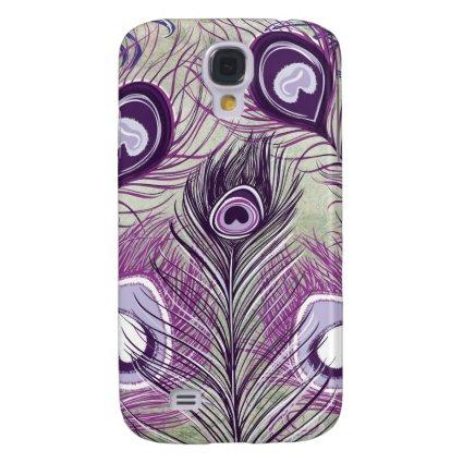 Pretty Purple Peacock Feathers Elegant Design Galaxy S4 Case