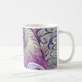 Pretty Purple Peacock Feathers Elegant Design Coffee Mug