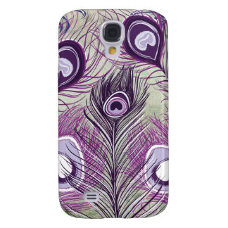 Pretty Purple Peacock Feathers Elegant Design Galaxy S4 Covers