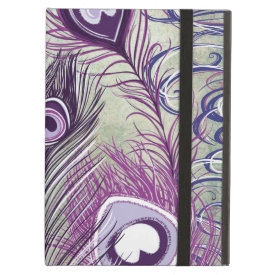 Pretty Purple Peacock Feathers Elegant Design iPad Covers