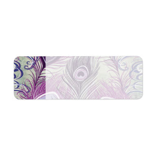 Pretty Purple Peacock Feathers Elegant Design Label