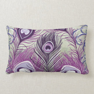 Pretty Purple Peacock Feathers Elegant Design Lumbar Pillow